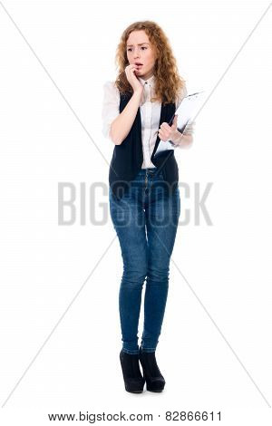 Astonished Business Woman With A Writing Tablet In Full Growth