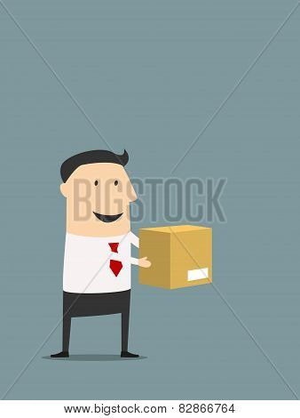 Cartooned flat businessman holding carton box