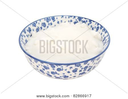 White Caster Sugar In A Blue And White China Bowl