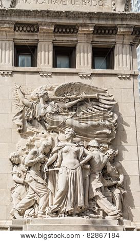 Carving On Michigan Avenue Bridge