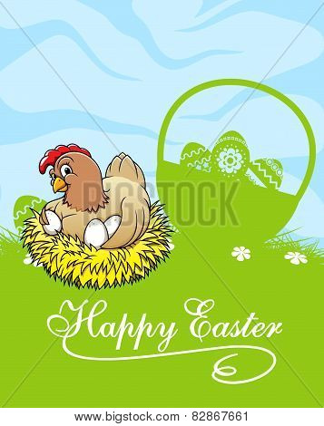 Happy easter card with hen and basket with easter eggs
