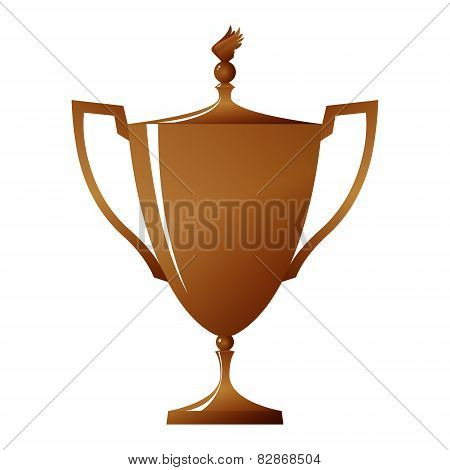Cup of winner, bronzed trophy cup, vector illustration