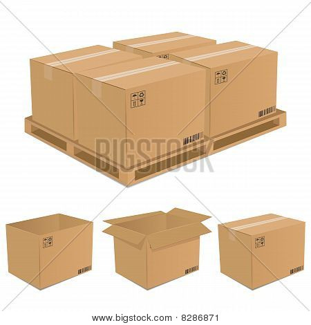 Set of vector cardboard boxes