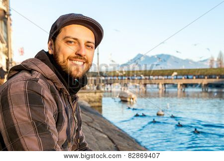 Man chilling out in Lucern, Switzerland.