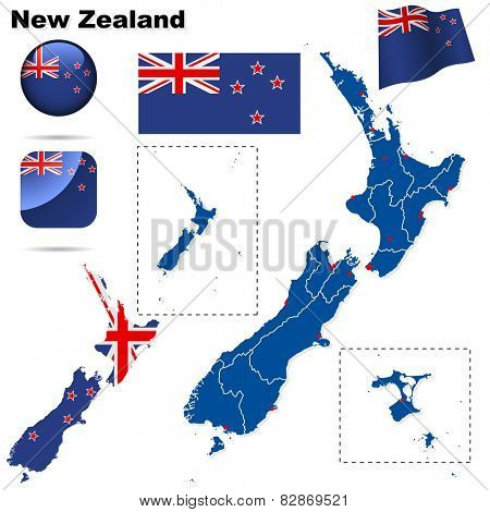 New Zealand set. Detailed country shape with region borders, flags and icons isolated on white background.