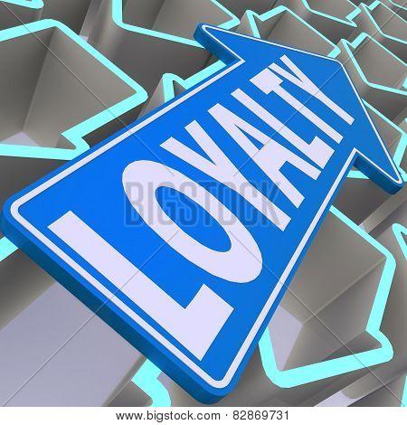 Loyalty Word On Blue Arrow