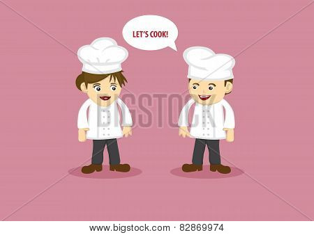 Happy Chef And Kitchen Assistant Vector Cartoon Characters