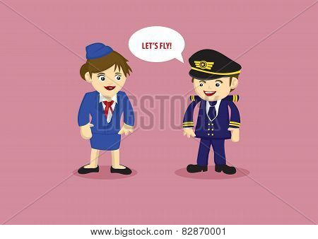 Pilot And And Air Stewardess Vector Cartoon Illustration