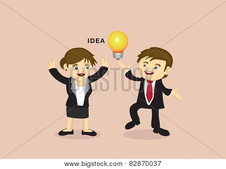Businessman And Businesswoman With An Idea Vector Cartoon
