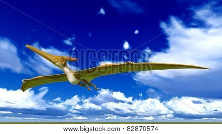 Flying pterodactyl over the sky