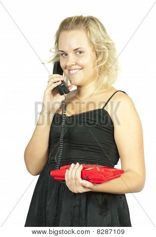 Woman Talking By Red Phone
