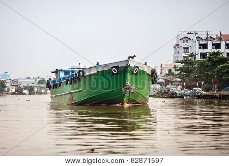 Cargo boat on the river, Mekong Delta, Vietnam