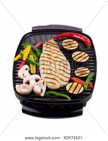 Grilled fish fillet on grill