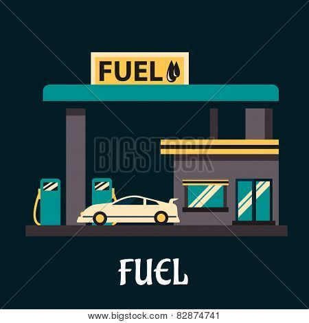 Car at gas station in flat style