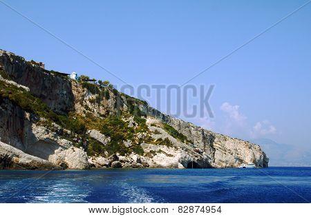 rock on coast at Zakynthos island