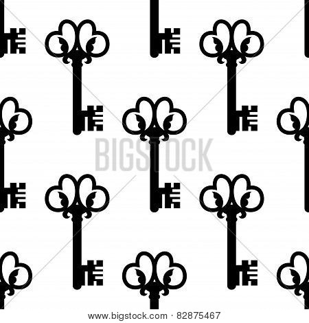Vintage keys with floral ornament seamless pattern