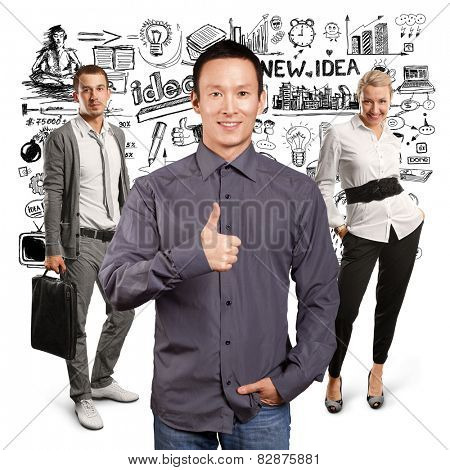 Teamwork concept. Asian business man shows well done against different backgrounds