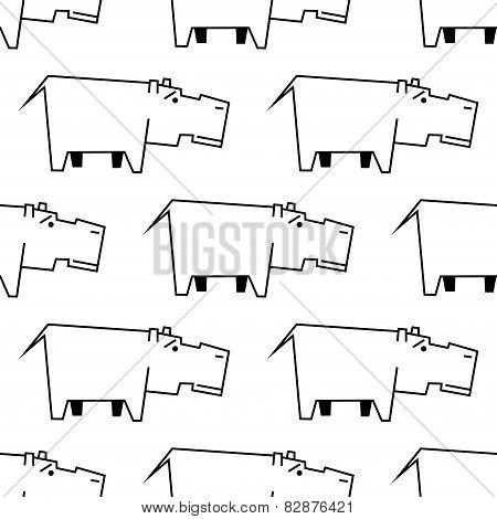 African hippopotamus sketch seamless pattern