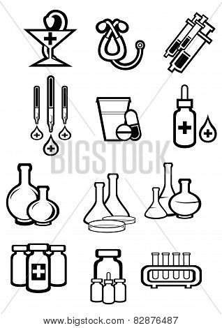 Black outline sketch icons of medicine or drugs