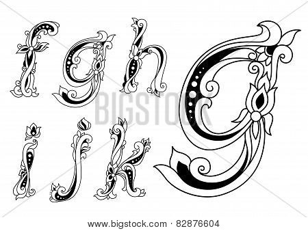 Floral ornamental outline sketch letters font