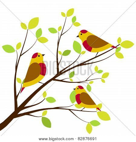 Cute birds sitting on branches. Yellow with red dots birds white background.