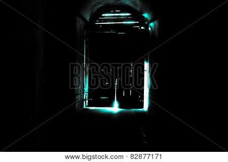 Mysterious Door, Secret Entrance Or Exit Blue Light
