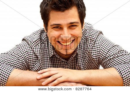 Young Man Laughing Isolated On White