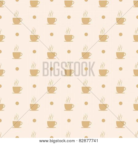 Coffee tea or hot chocolate cup. Seamless pattern background vector illustration.