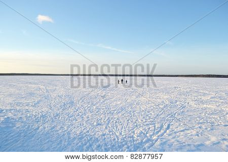 Frozen Lake At Sunny Winter Day.