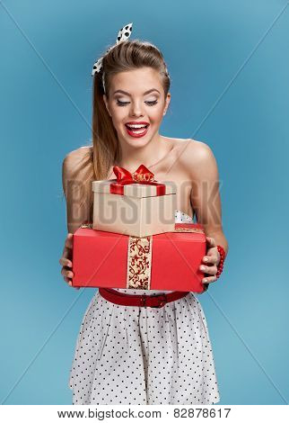 Happy woman take a present