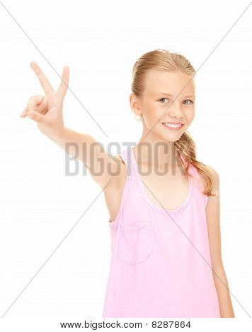 Lovely Girl Showing Victory Sign