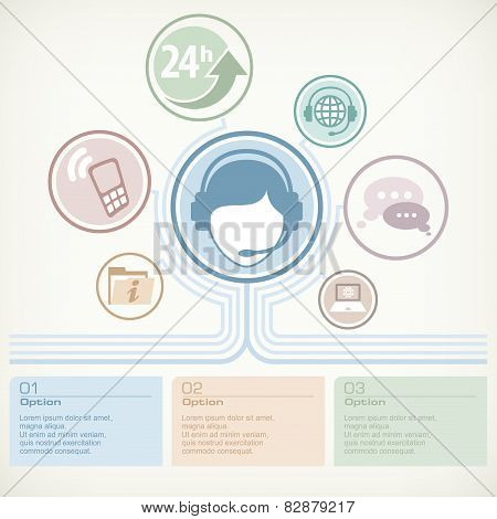 Customer Service Infographic With Female Operator & Text, Vector Illustration