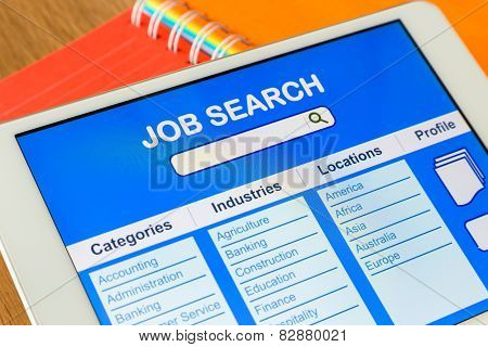 Digital Tablet Pc Showing User Interface Of Online Job Search