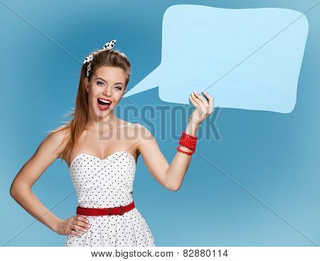 Woman showing sign speech bubble banner looking happy excited