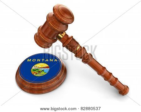 Wooden Mallet and flag Of Montana (clipping path included)
