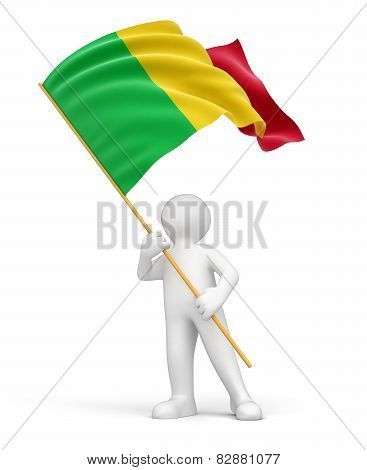 Man and Mali flag (clipping path included)
