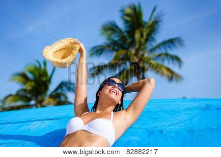 Happy Woman On Tropical Caribbean Vacation