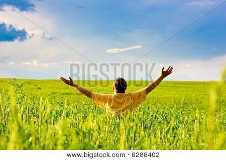 Man In Sunny Field