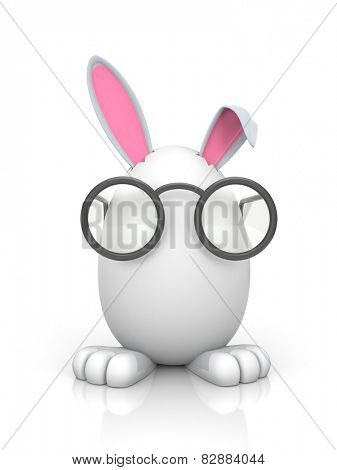 Rabbit in the egg with glasses