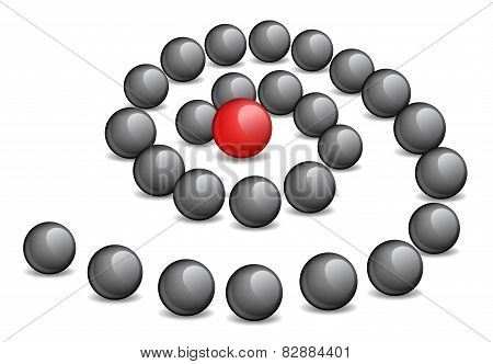 Conceptual illustration - a red sphere in the spiral center