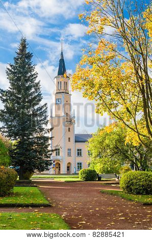 Autumn Landscape In The Park In Front Of City Hall In Sillamae, Estonia