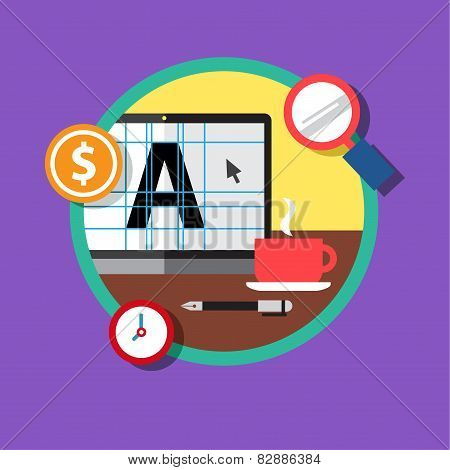 Flat design colorful vector illustration concept for distance education, online learning for web ban