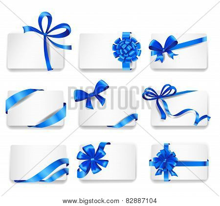 Set of beautiful cards with blue gift bows
