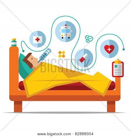 Sick man is in bed and taking thermometer.Vector vintage Poster