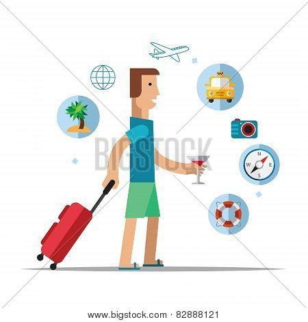 man traveler Vector illustration, flat style