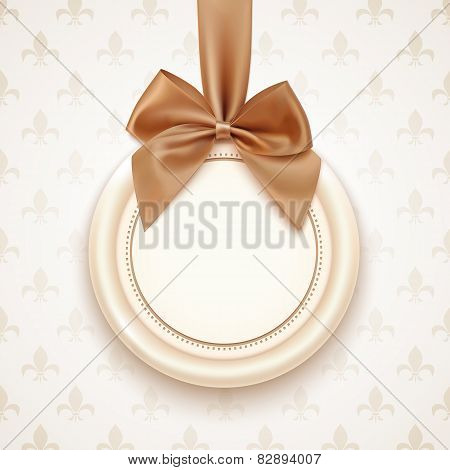 Blank badge with golden ribbon and bow