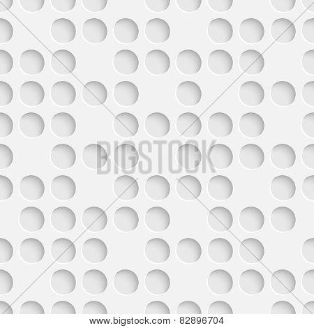 Seamless Hole Pattern. Vector Soft Background. Regular White Texture