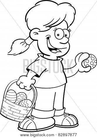 Cartoon girl on an Easter egg hunt.