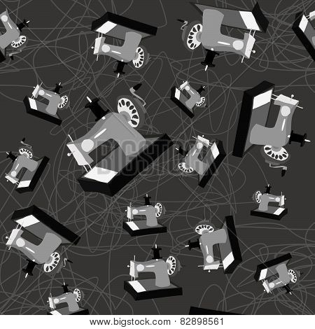 cartoon sewing machine vector. seamless pattern, sewing, vintage.
