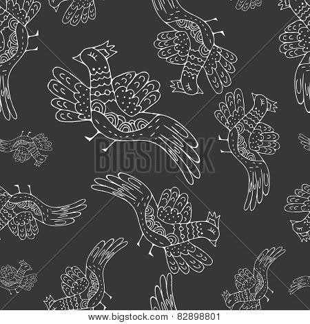 Primitive drawing birds. Cartoon seamless pattern with birds, decorative  background.